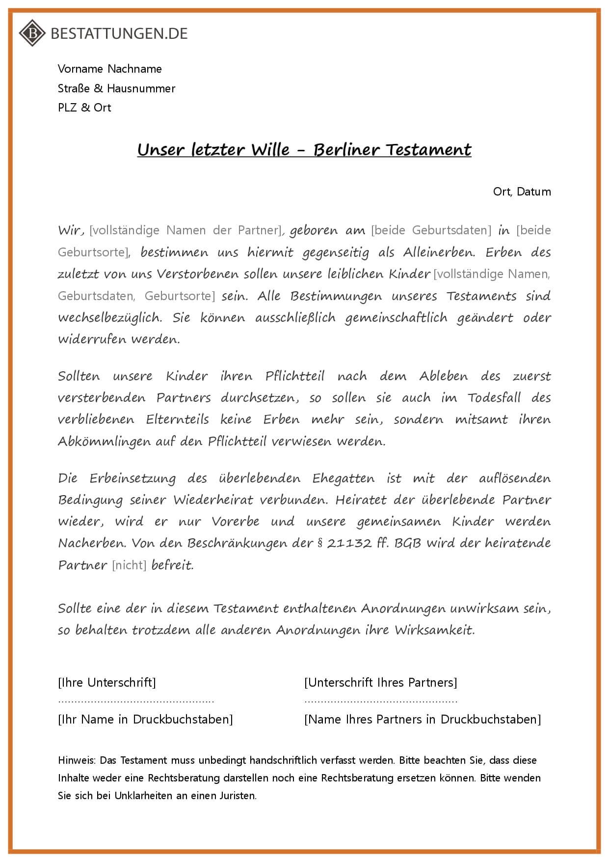 Erben Stiefkinder Berliner Testament