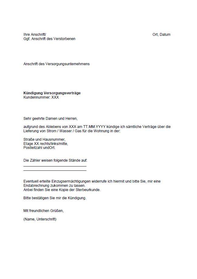 muster der kndigung von strom wasser oder gas im todesfall - Muster Kundigungsschreiben
